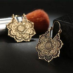 💕COMING SOON💕 Gold BOHO Mandala flower earrings